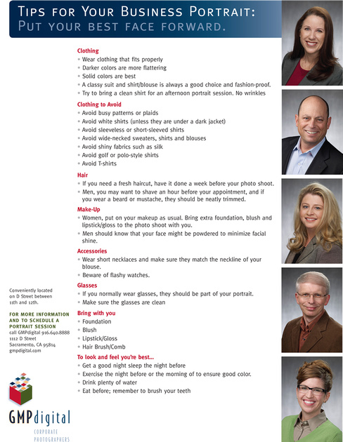 Tips sheet to prepare clients for their upcoming portrait session