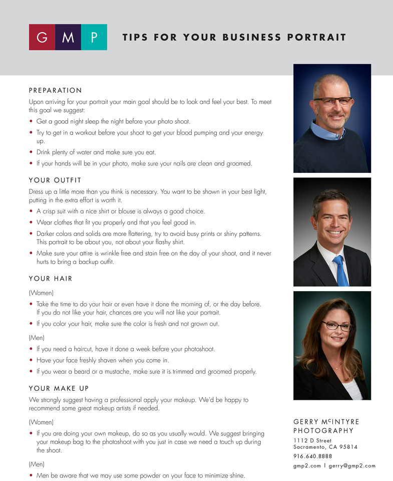 Downloadable flyer with Tips to help clients prepare for their professional portrait session. There are three business headshots and a list of tips.